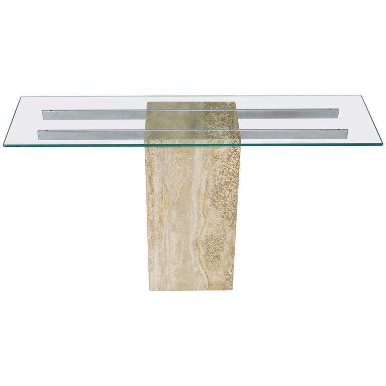 Travertine Chrome Glass Top Console Sofa Table