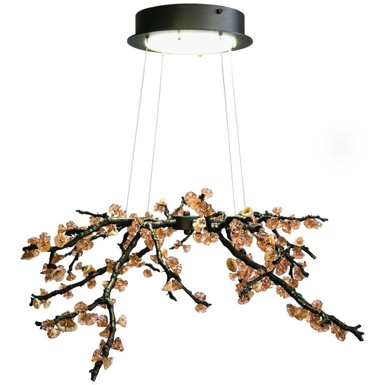 Sculpture Chandelier Handmade Almond Three Pendant Lamp in Cast Brass & Glass