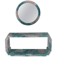 Round Mirror Console Table Marbleized Lacquered Finish Faux Marble
