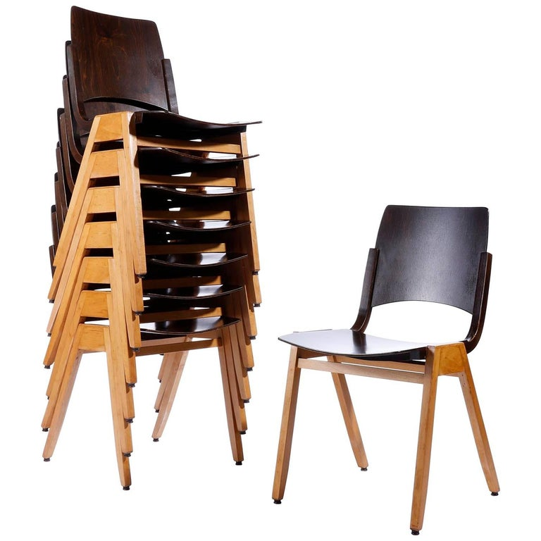 Roland Rainer, Set of Eight Stacking Chairs P7, Bicolored Beech, Austria, 1952 For Sale