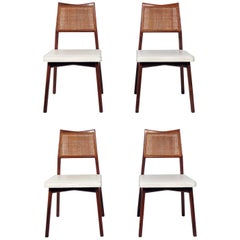 Set of Four Caned Back Dining Chairs Attributed to Jens Risom