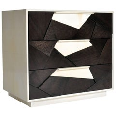 Mosaic Nightstand in Ebonized Walnut and Parchment by Newell Design