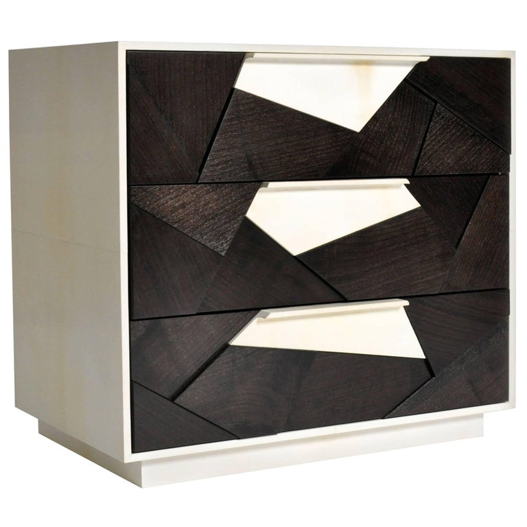 Cubist Nightstand in Ebonized Walnut and Parchment by Newell Design