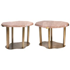 Pair of Fine Carved Cloud Form Rose Rock Crystal Quartz Coffee Tables