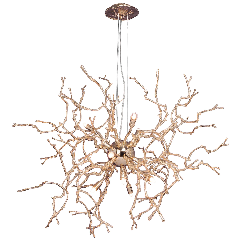 21st Century Sculptural Modern Handmade Pendant Led Lamp in Brass .Chandelier
