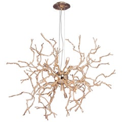 21st Century Sculptural Modern Handmade Pendant Led Lamp in Brass .Chandelier
