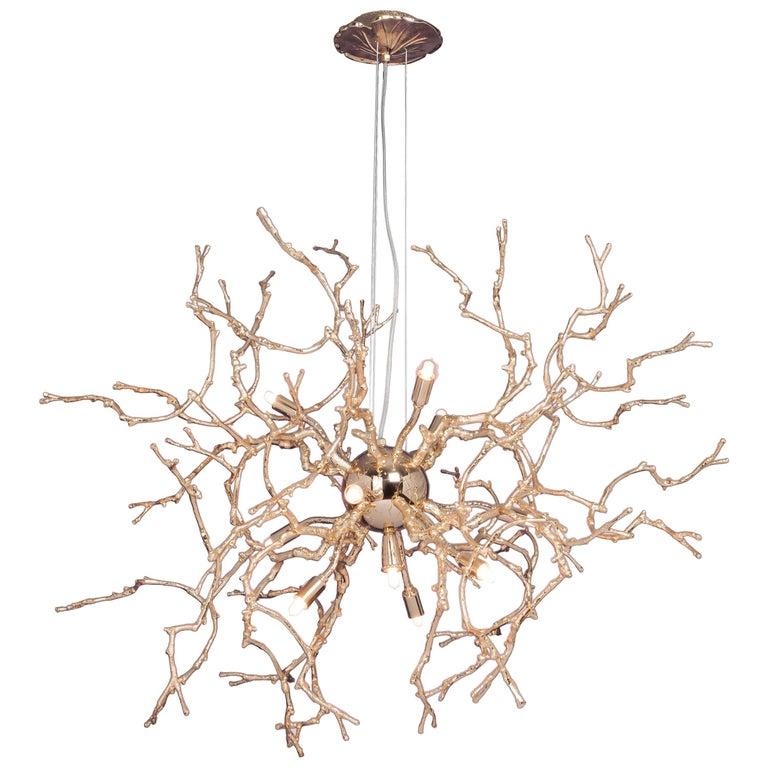 21st Century Sculptural Modern Handmade Pendant Led Lamp in Brass .Chandelier For Sale
