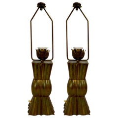 Pair of Brass Boudoir Lamps in the Style of Wiener Werkstätte