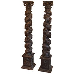 Pair of Carved Solomonic Columns