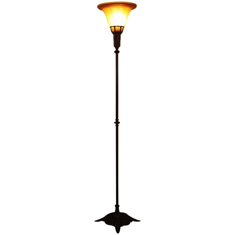 American 1920s Art Deco Torchiere Floor Lamp by Lightolier at 1stdibs