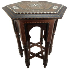 Early 20th Century Small Octagonal Side Table with Inlay from India