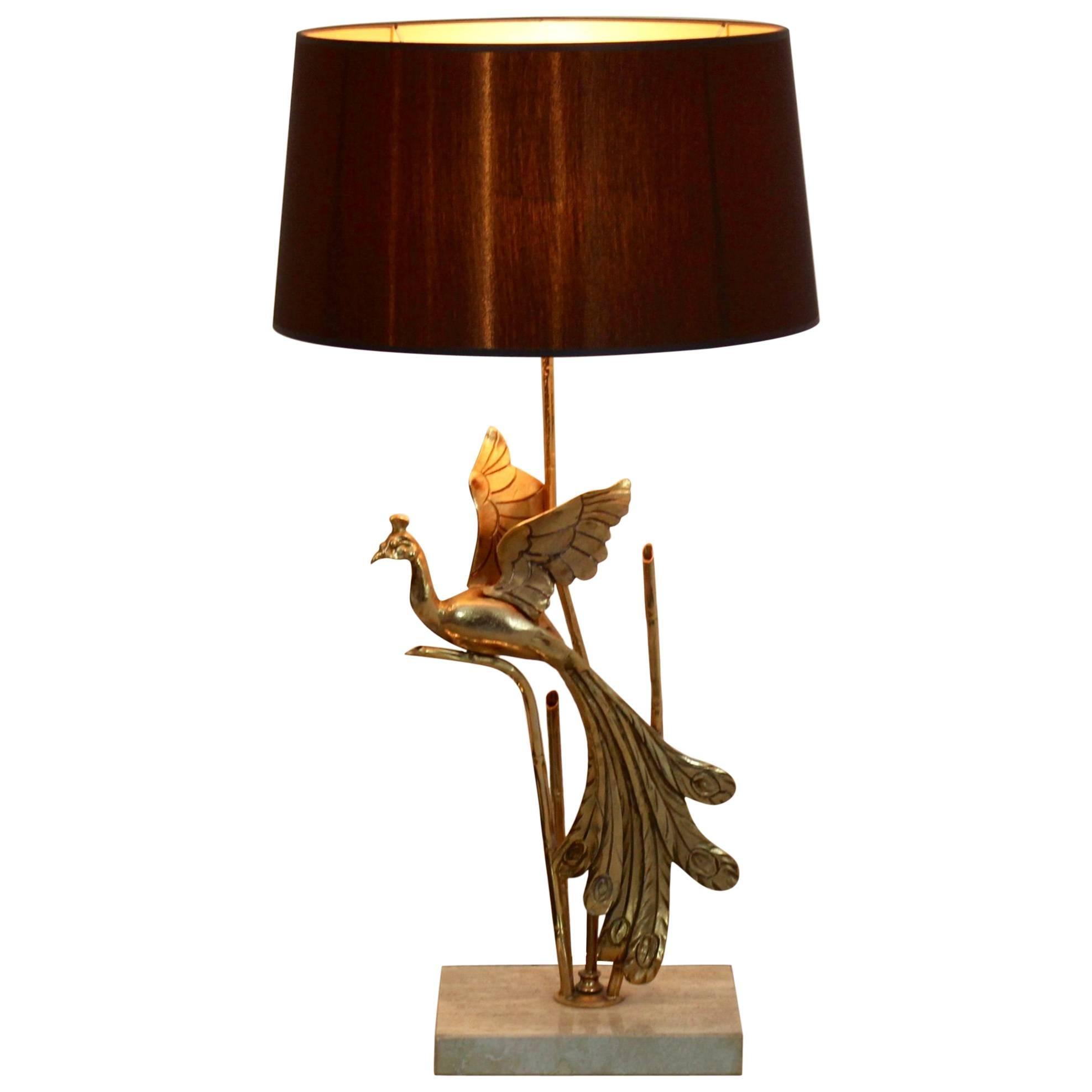 Sculptural Gilt Metal on Travertine Peacock Table Lamp or Floor Lamp, 1970s
