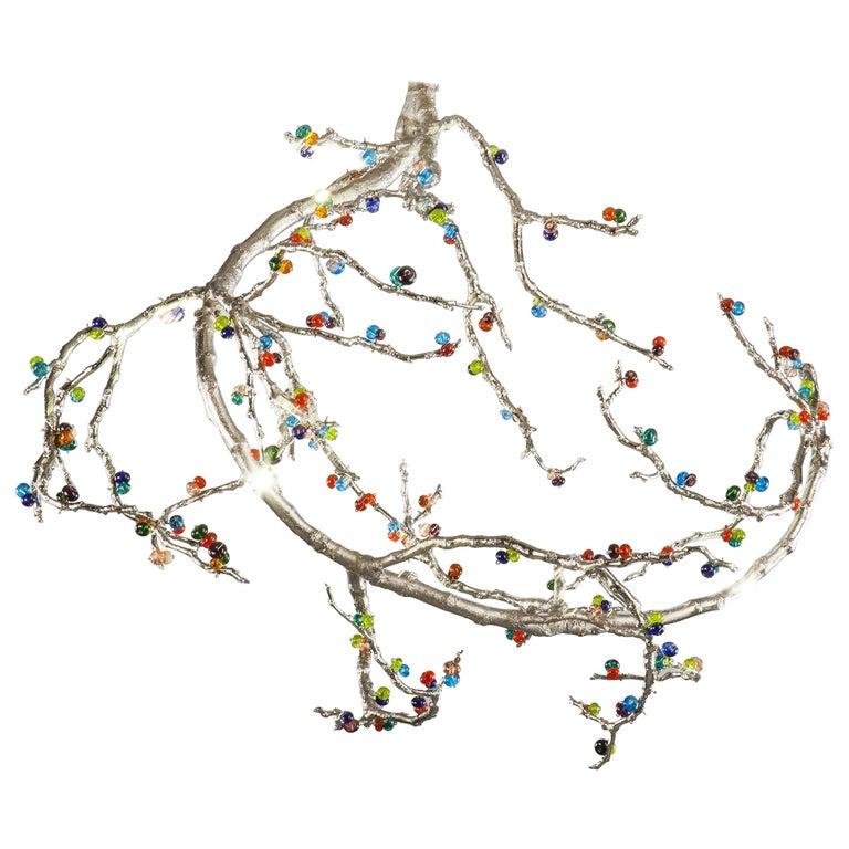 21st Century Sculptural Modern Handmade Pendant Led Lamp. Chandelier For Sale