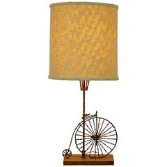 Mid-Century Modern Fantoni Brutalist Brass Bicycle Table Lamp Italian 1960s
