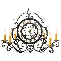 French Faux Clock Six-Light Hanging Fixture of Wrought Iron