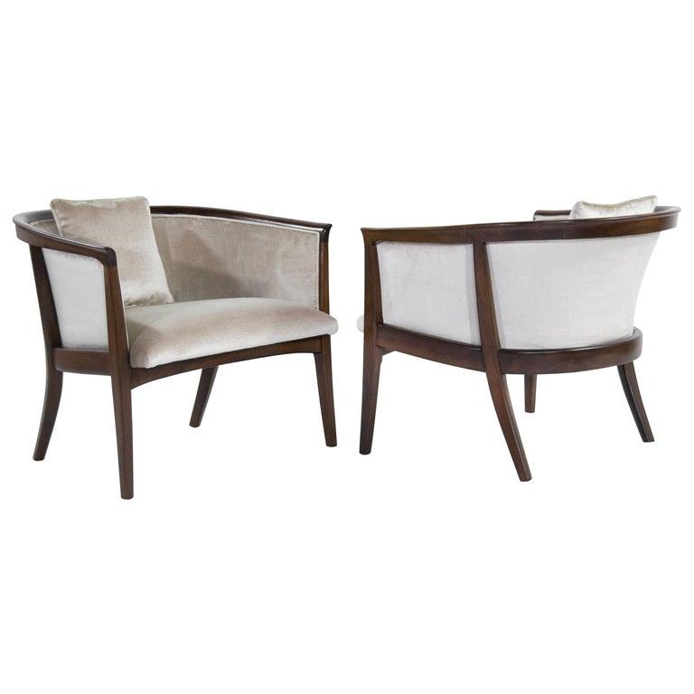 Milo Baughman Walnut Frame Tub Chairs