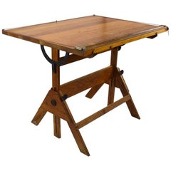 Oak Drafting Table with Adjustable Top
