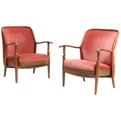 Pair of Danish Art Deco Armchairs with Stylized Female Arm Supports