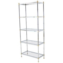 Brass Chrome Glass Tall Etagere