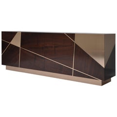 Ray Cabinet in Analine Dyed Claro Walnut and Bronze by Newell Design