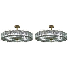 Pair of Glacier Blue Murano Glass Chandeliers