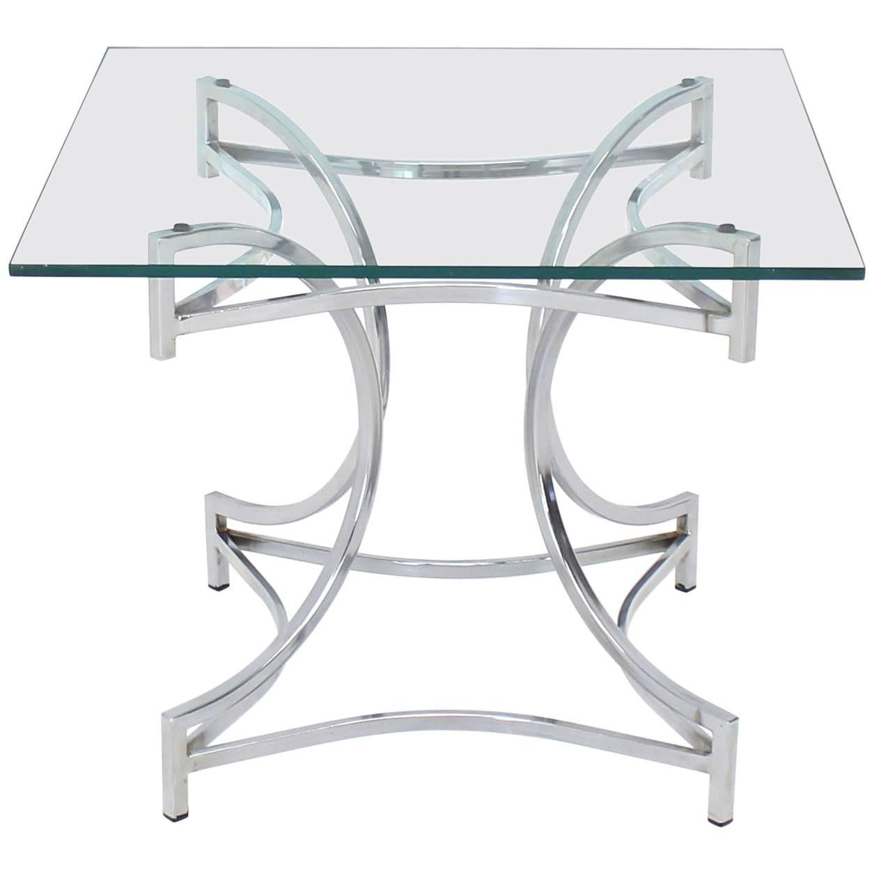Square Glass Top Figural Chrome Base Side Centre Table