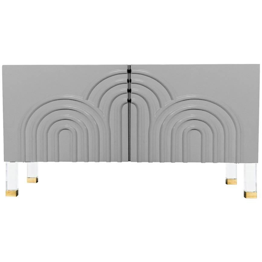 Midcentury Art Deco Style Two-Door Greystone Credenza with Lucite and Brass Legs