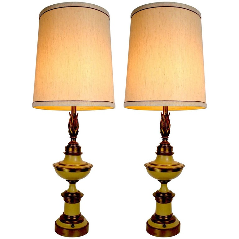 Pair of Flame Motif Lamps Attributed to Stiffel