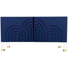 Midcentury Art Deco Style Two-Door Navy Credenza with Lucite and Brass Legs