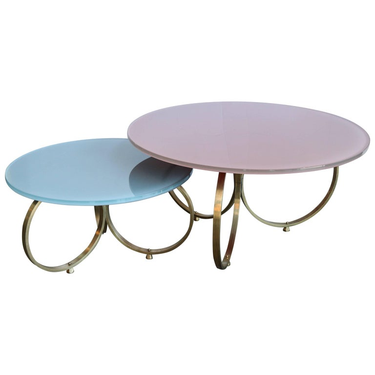 Set of Two Custom Brass Coffee Tables with Reverse Painted Glass Top For Sale