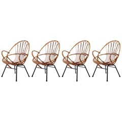 Four Rattan Wicker Bamboo Chairs Armchairs, Rohe Noordwolde, Netherlands, 1960s