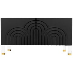 Midcentury Art Deco Style Two-Door Black Credenza with Lucite and Brass Legs