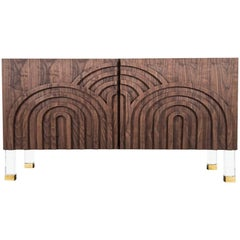 Midcentury Art Deco Two-Door Oiled Walnut Credenza with Lucite and Brass Legs