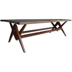 Teak Desk and Dining Table in the Style of Pierre Jeanneret