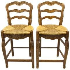 Pair of French Country Ladder Back Bar Stools