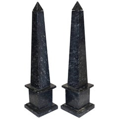 Black and Gray Fossilized Marble Obelisks, Italy, Mid-20th Century