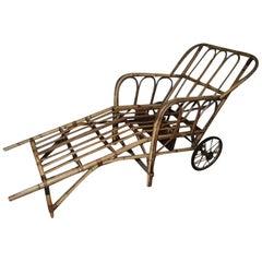 Bamboo Chaise Longue Chair on Wheels