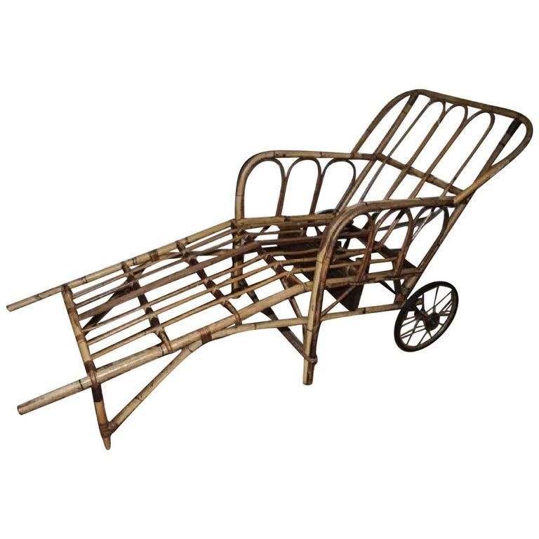 Bamboo Chaise Longue Chair on Wheels