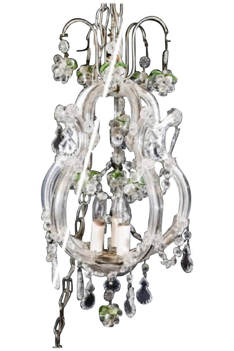 Small Vintage Crystal and Grape Cluster Motif Chandelier