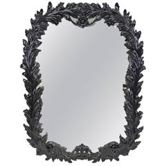 Large Black Lacquered Hollywood Regency Style Mirror