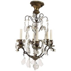 Small Louis XIV Style Brass and Crystal Chandelier