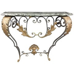 French Wrought Iron Wall Mount Console Table