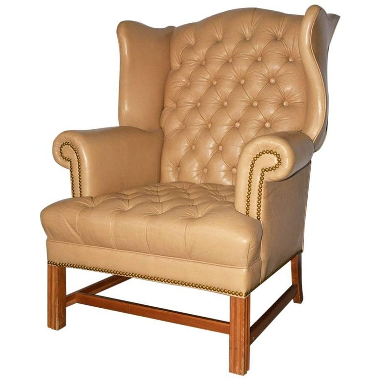 Camel Tone Leather Chesterfield Tufted Wing Chair