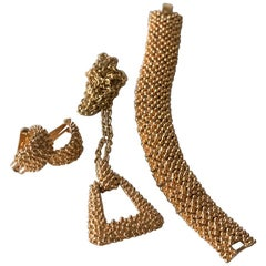 Sarah Coventry Jewelry Set, Gold Tone Mesh Necklace, Earrings and Bracelet, 1950