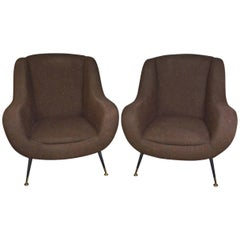 Pair of Italian Upholstered Club Chairs