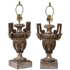 Pair of 19th Century Silver Gilt Urn Form Table Lamps