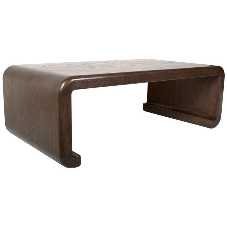 Solid Oak Coffee Table, Waterfall Design, Dark Oak Finish