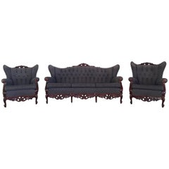 20th Century French Sofa Set, Rococo Baroque Style with Two Wingback Chairs