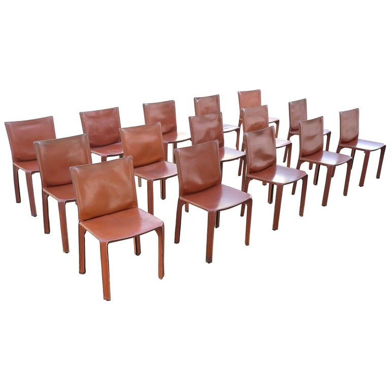 Large Set of 15 Leather 412 Cab Chairs by Mario Bellini for Cassina