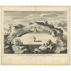 """Antique Print of the Areopagus in Athens """"Greece"""" by A. Calmet, 1725"""